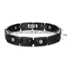 Black ceramic with health magnetic bracelet for mens stainless steel jewellery