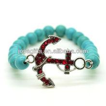 Türkis 8MM runde Perlen Stretch Edelstein Armband mit Diamante Anker Legierung Stück