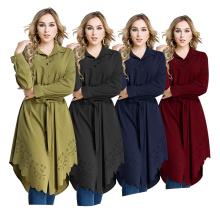 Moda S-6XL maxi bloco de cor Desgaste Vestuário Islâmico Meninas Árabes Plus tamanho corte floral mulheres camisa longa blusa