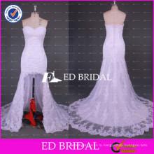 ЭД Свадебные Новая коллекция милая шеи короткий передний долго назад кружева Русалка свадебное платье