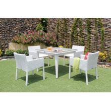 Design Elegante Poly Rattan 4 Cadeiras Conjunto De Jantar Para Jardim Exterior Móveis De Vime De Pátio