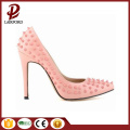 pink stiletto heel rivet ladies genuine shoes