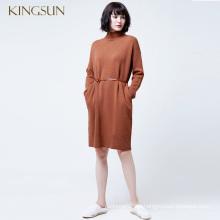 Damen Winter Rollkragen Strick Langes Kleid Elegante Damen 100% Wolle Kleid