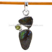 Designer Ammolite And Peridot Gemstone 925 Solid Silver Pendant Jewelry