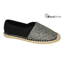 Chaussures décontractées plates en espadrille raffia et toile pour femmes