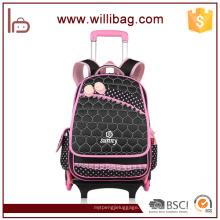 Bolso de escuela rodado de nylon de alta calidad, bolso de escuela de la carretilla para los niños