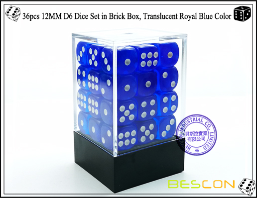 36pcs 12MM D6 Dice Set in Brick Box, Translucent Royal Blue Color-1