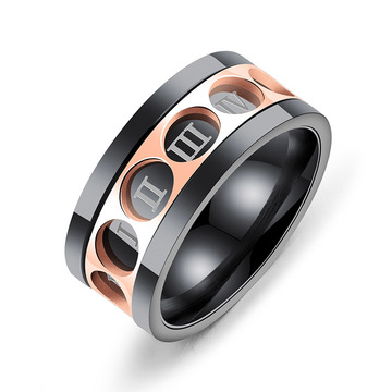 Stainless steel mens cincin spinner angka romawi