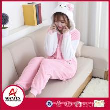 Hello Kitty coral fleece mujeres animales casa albornoz lindo onesie venta al por mayor