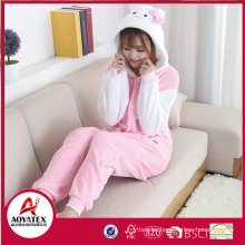 Hello Kitty coral fleece women animal home bathrobe cute onesie wholesale