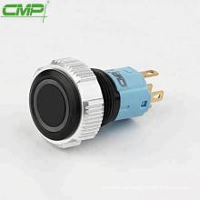 Interruptor de pulsador iluminado de metal o plástico negro CMP