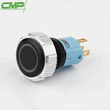 Bouton-poussoir lumineux noir CMP en métal ou en plastique