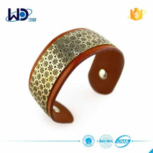 2015 Wide Metal Plate Leather Bracelet