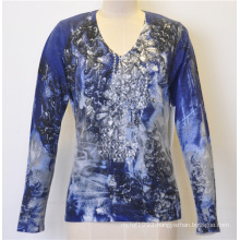 Women Patterned Pullover Knitted Sweater with Sequins