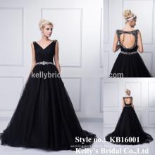 Made in China novo produto de chegada 2015 vendas quentes longo frisado sexy A-line backless vestido preto vestido de noiva sexy
