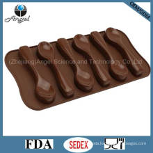 6-Spoon Silicone Chocolate Mold Ice Cube Tray with FDA Approved Si11