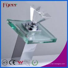 Fyeer Diamond Handle Glass Spout Bathroom Waterfall Basin Faucet