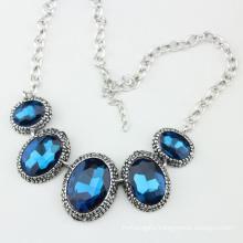 Big Size Blue Crystal Glass Fashion Briliant Jewelry Necklace