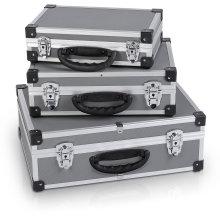 3in1 Aluminum Suitcase Aluminum Case Tool Case Set in Gray/Silver