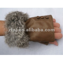 Guantes de piel de conejo fabulosos guantes de cuero sin dedos