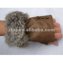 fabulous rabbit fur trim fingerless leather glove