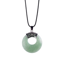 Womens Fashion Coin Green Aventurine Pendant Necklace Sweater Chain Jewelry