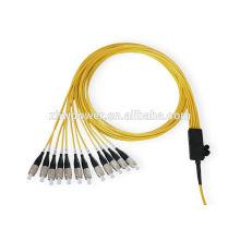 Cabo de remendo da fibra do fan-out do núcleo 12, cabo de remendo ótico do SC FC LC ST MPO do conector, cabo de remendo da fibra óptica