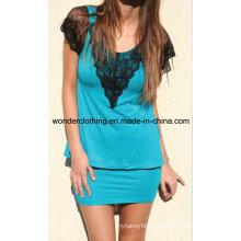 Кружева Cutton Мода Горячие Продажи Партии Женщин Платье