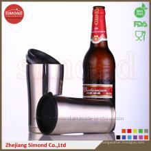 Caneca de cerveja de vácuo de aço inoxidável de 12 oz com tampa de plástico