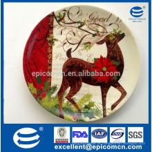 Série de Natal alta branco de porcelana forma redonda placas de jantar por atacado