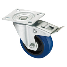 Middle Duty Series Caster - Swivel W/Brake - Blue Elastic Rubber (roller bearing)