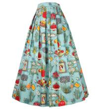 Belle Poque Elastic Waist Cotton A-Line Vintage Retro Style Swing Long Skirt BP000324-3
