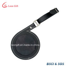 Round PU Leather Suitcase Tags / Airline Backpack Labels