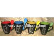 Grès À la main Latte Drinkware Mugs & Spoon Souvenir / Rouge Jaune Vert Bleu Couleur vos propres ensembles de tasses