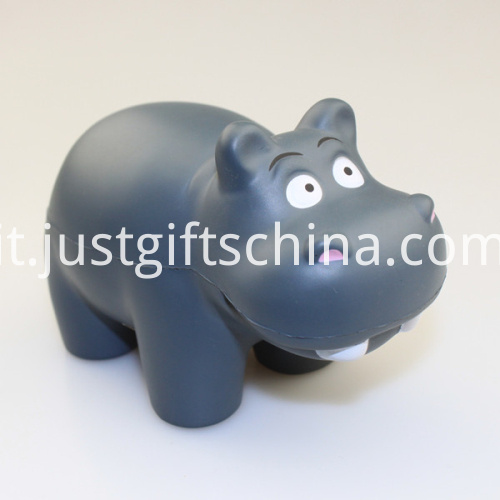 Promotional PU Hippo Gray Shape Stress Ball1