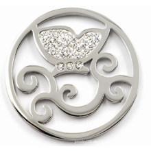 Hochwertige Edelstahl-Münzenplatte mit weißem Kristall