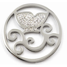 High Quality Stainless Steel Coin Plate with White Crystal