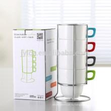 400ml чашка штабелируемый керамический для кофе с резиной покрасил ручки и металлические стойки