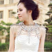 Trendige Braut Hochzeit Glas Stein Perlen Tippet Halskette