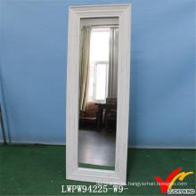 Espejo de piso de espejo cosméticos enmarcado de madera blanca vintage
