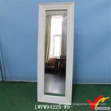 Vintage White Wood Framed Cosmetic Dressing Floor Mirror