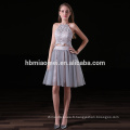2017 nouvelle mode facotry fournir élégante robe de demoiselle d'honneur 2pcs ensemble licou licou demoiselle d'honneur robes courtes en couleur grise