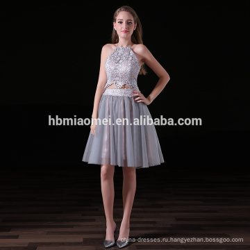 2017 новая мода facotry в поставку элегантный невесты платье 2шт комплект кружевной холтер невесты короткие платья в сером цвете
