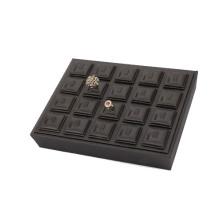 Attraktive schwarze Leder Schmuck Hochzeit Ring Display Tray für 20 Ringe