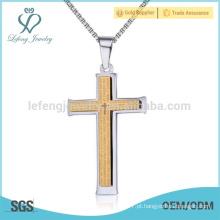 Moda de aço inoxidável novo pingente de ouro cruz para os homens