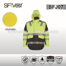 2015 hi vis workwear winter fashion mixed color reflective safety security water froof jacket en iso 20471:2013