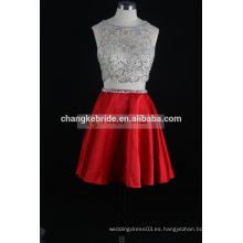 Vestido de cóctel sexy Sheer dos piezas de raso una línea de vestido de baile 2016