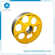 Piezas del elevador con precio barato de hierro fundido, roldana del deflector de nylon (OS13)