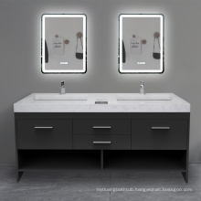 Double Solid Surface Basin Modern Bedroom Vanity Set With Lighted Mirror