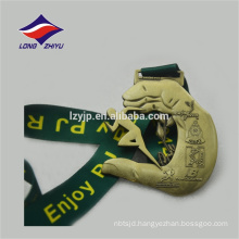 Marathon Running Gold Custom logo Medal With Ribbon